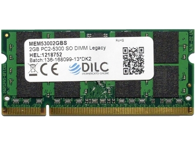 SODIMM DILC RAM DDR2 2GB DDR2 PC2-5300 667MHz 200PIN CL5 DILC53002GBS