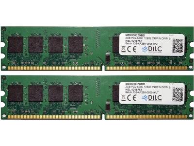 DILC Ram Dimm DDR2 4GB (2x2GB) 667Mhz PC2-5300 (240 Pin) 128x8 DILC53002X2GBD