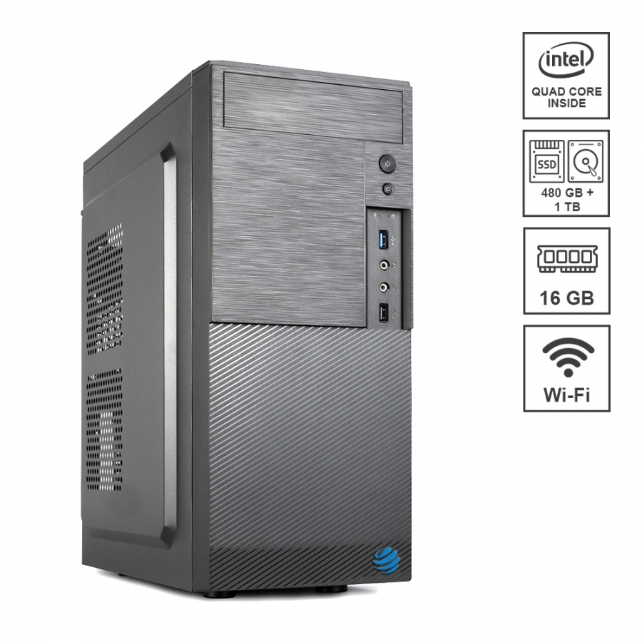 Pc Fisso DILC Airo Plus Intel Quad Core 2.0 ghz Ram DDR4 16 gb Ssd 480 gb Hard Disk 1 tb WiFi 300 mbps Licenza Windows 10 PRO