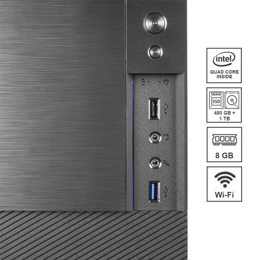 Pc Fisso DILC Airo Intel Quad Core 2.0 ghz Ram DDR4 8 gb Ssd 480 gb Hard Disk 1 tb WiFi 300 mbps Licenza Windows 10 PRO