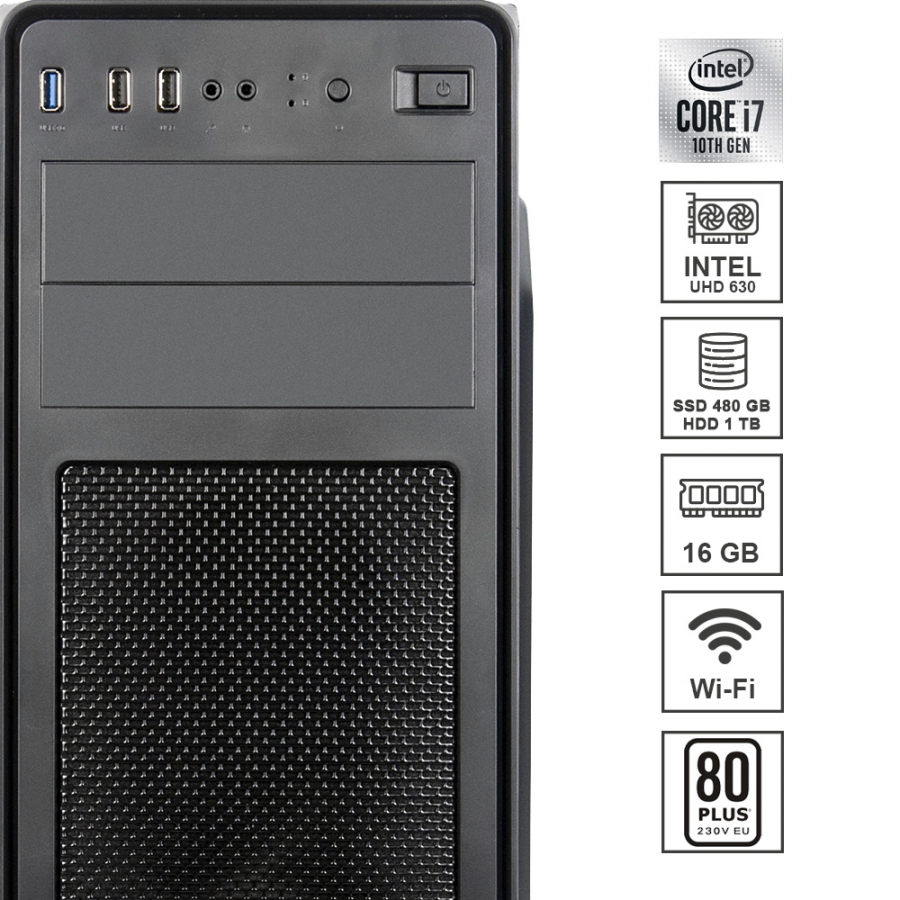 Pc Fisso DILC Business 7 Intel i7-10700 8 Core 2.90 ghz Ram 16 gb Ssd 480 gb Hard Disk 1 tb WiFi 300 mbps Masterizzatore Alimentatore 80+ Licenza Windows 10 PRO