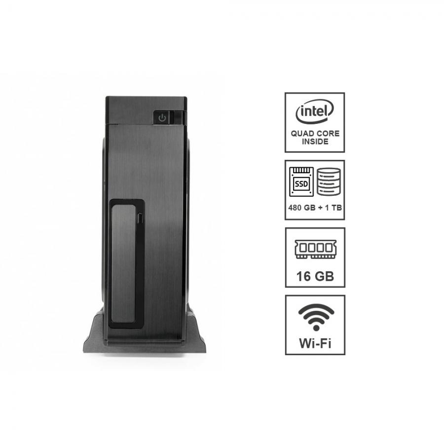 Mini Pc DILC Micro Intel Quad Core 2.0 ghz Ram 16 gb Ssd 480 gb Hard Disk 1 tb WiFi 300 mbps Licenza Windows 10 PRO