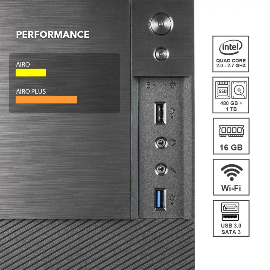 Pc Fisso DILC Airo Plus Intel Quad Core 2.0 ghz Ram DDR4 16 gb Ssd 480 gb Hard Disk 1 tb WiFi 300 mbps Licenza Windows 10 PRO