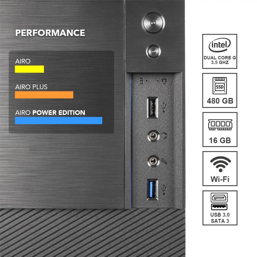 Pc Fisso DILC Airo Power Edition Intel G5905 Dual Core 3.50 ghz Ram DDR4 16 gb Ssd 240 gb Hard Disk 1 tb WiFi 300 Scheda Video integrata Intel UHD 610 con risoluzione 4K mbps Masterizzatore Licenza Windows 10 PRO